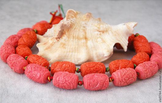 Для украшений ручной работы. Ярмарка Мастеров - ручная работа. Купить 19х13мм. Коралл бочонок  резной. два цвета. Handmade.