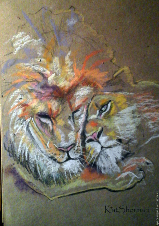 Животные ручной работы. Ярмарка Мастеров - ручная работа. Купить Любовь. Handmade. Комбинированный, лев, Львица, любовь, love, пастель