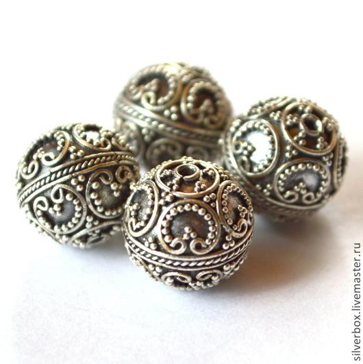 Бусина Бали1 серебро 925 пробы, ручная работа. Для Украшений Нина(SilverBox)