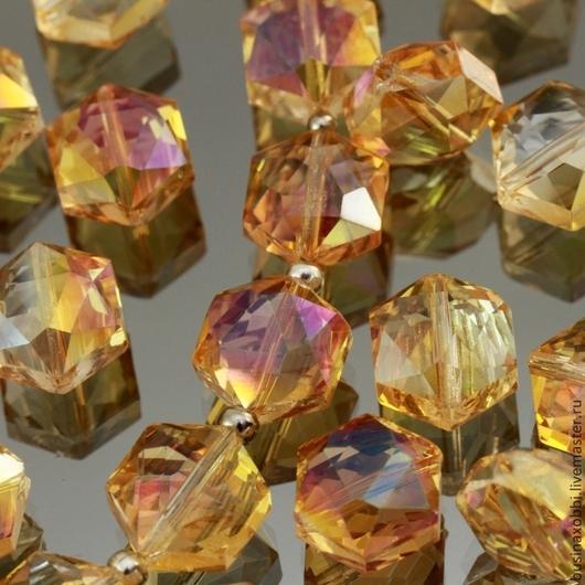 Бусины стеклянные граненые шестиугольной формы со специальной обработкой cristallized розового оттенка для сборки украшений