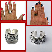 Украшения handmade. Livemaster - original item Ring Flowers Three Sizes. Silver 925 sample. Handmade.