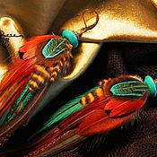 Украшения handmade. Livemaster - original item Earrings brown and turquoise feathers.. Handmade.