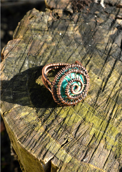 """Кольца ручной работы. Ярмарка Мастеров - ручная работа. Купить Перстень """"Спираль"""". Handmade. Бирюзовый, перстень, медь патинированная"""