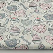 Материалы для творчества ручной работы. Ярмарка Мастеров - ручная работа 100% хлопок, Польша 2, кулинария серо-розовая. Handmade.