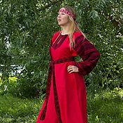 """Русский стиль ручной работы. Ярмарка Мастеров - ручная работа Платье """"Этно"""" красное. Handmade."""