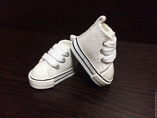 Куклы и игрушки ручной работы. Ярмарка Мастеров - ручная работа. Купить Кеды для кукол 5см (обувь для кукол) цв.белый. Handmade.