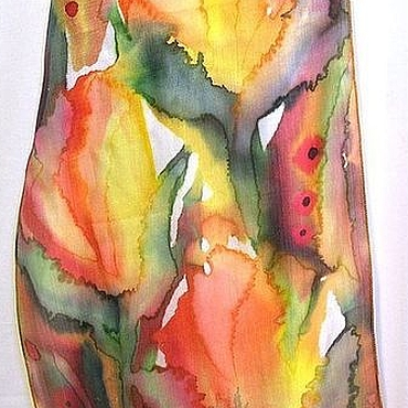 """Аксессуары ручной работы. Ярмарка Мастеров - ручная работа Шарф Батик""""Тюльпаны""""шелковый шарфик 100%Шелк Батик. Handmade."""