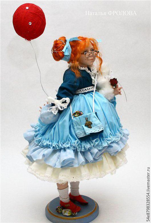 """Коллекционные куклы ручной работы. Ярмарка Мастеров - ручная работа. Купить """"На большом воздушном шаре"""". Handmade. Комбинированный, хлопок"""