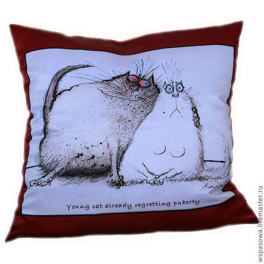 Текстиль, ковры ручной работы. Ярмарка Мастеров - ручная работа. Купить Кот-8. Handmade. Ярко-красный, декоративная подушка