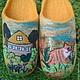 Тапочки-шлепки с котиком вместо коровки и с цветами вместо грядок.