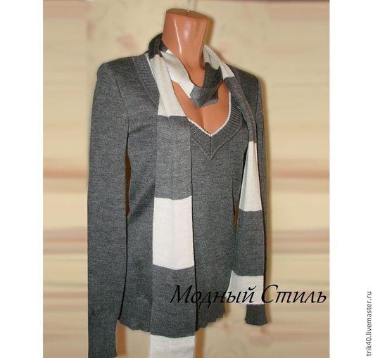 Кофты и свитера ручной работы. Ярмарка Мастеров - ручная работа. Купить свитерок с шарфом Шалунья. Handmade. Серый, серый цвет