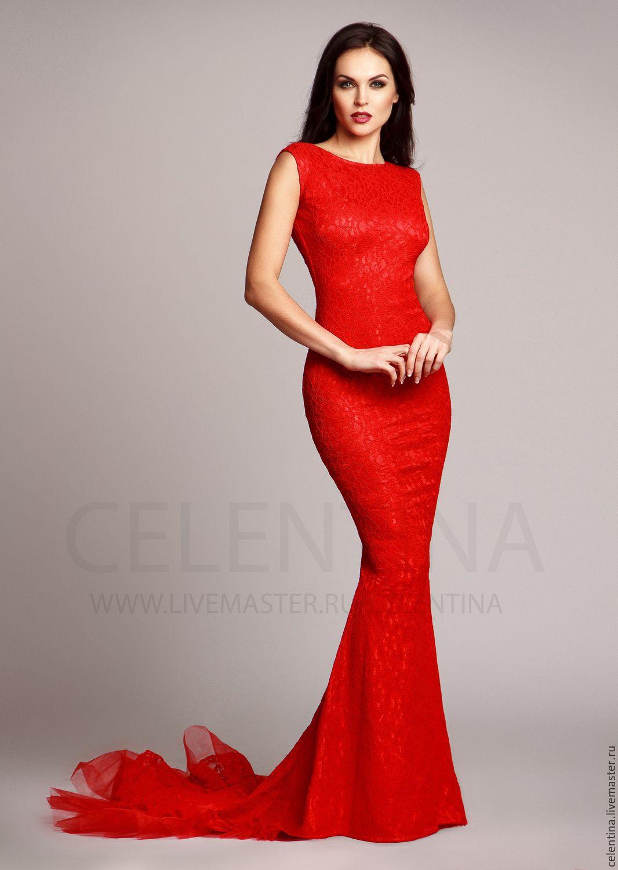 кружевное платье в пол красное фото