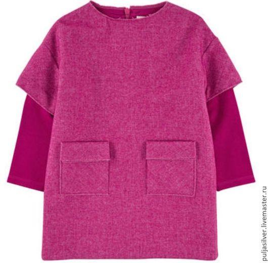 Одежда для девочек, ручной работы. Ярмарка Мастеров - ручная работа. Купить Платье из шерсти с кашемиром. Handmade. Фуксия, платье повседневное
