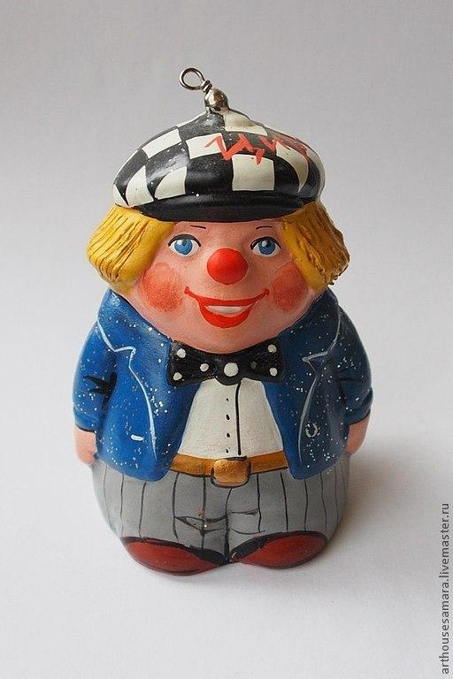 """Детская ручной работы. Ярмарка Мастеров - ручная работа. Купить Керамический колокольчик """"Клоун в синем пиджаке"""". Handmade. Синий, клоун"""