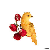 """Украшения ручной работы. Ярмарка Мастеров - ручная работа Брошь """"Горчичная птичка на ветке граната».Вышитая бисером брошь.. Handmade."""