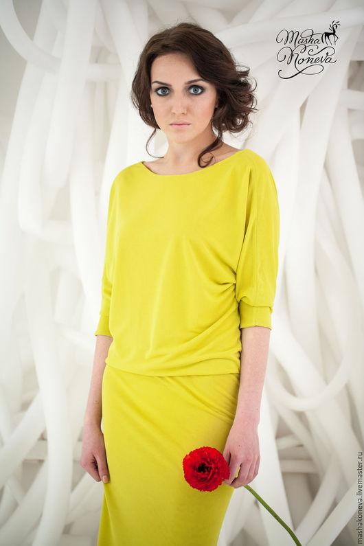 Платья ручной работы. Ярмарка Мастеров - ручная работа. Купить Вечернее платье-трампет  цвета желтый шартрез. Handmade. Желтый