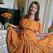 Одежда ручной работы. Ярмарка Мастеров - ручная работа юбка из  хлопка  оранжевая. Handmade.