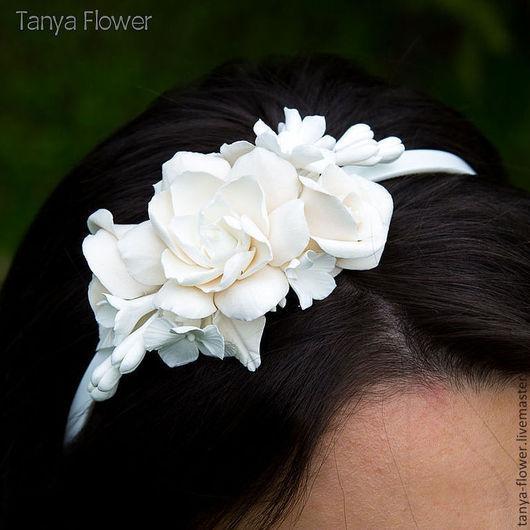 Диадемы, обручи ручной работы. Ярмарка Мастеров - ручная работа. Купить Ободок для волос с цветами - Белый. Handmade. Белый