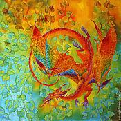 """Аксессуары ручной работы. Ярмарка Мастеров - ручная работа шелковый платок батик """"Дракон Июль"""". Handmade."""