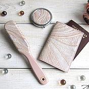 Канцелярские товары handmade. Livemaster - original item Passport cover genuine leather cream pearl. Handmade.