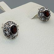 Украшения handmade. Livemaster - original item Silver earrings with garnets 8 mm. Handmade.
