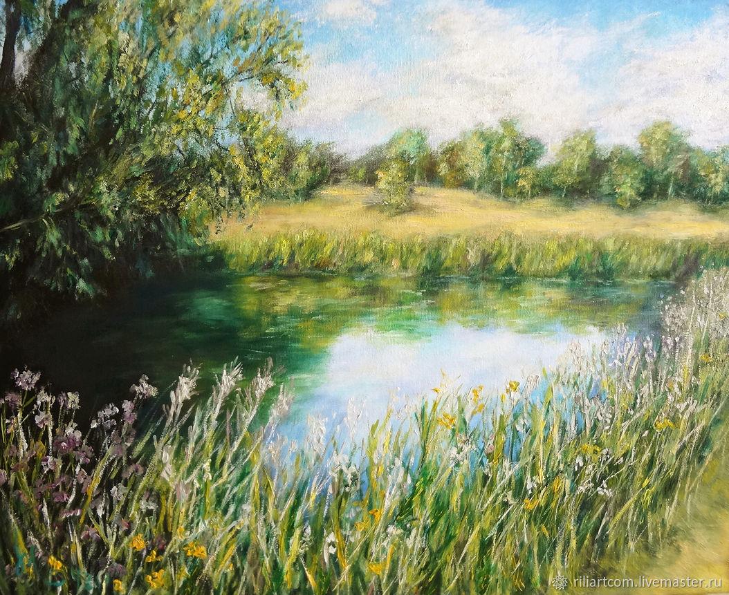 Цветы у реки летним днём. Картина маслом на холсте, Картины, Минск,  Фото №1