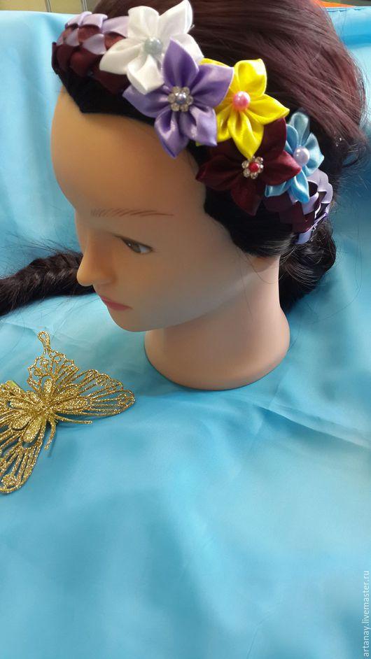 Заколки ручной работы. Ярмарка Мастеров - ручная работа. Купить ободок для волос. Handmade. Комбинированный, ободок с цветами, заколка для волос