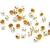 Материалы для творчества handmade. Livemaster - original item 10pcs Rhinestone DACs Topaz ss20 4,6-4,8 mm Czech round sew crab. Handmade.