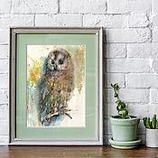 Картины и панно handmade. Livemaster - original item Watercolor painting. Birds. OWL. Handmade.