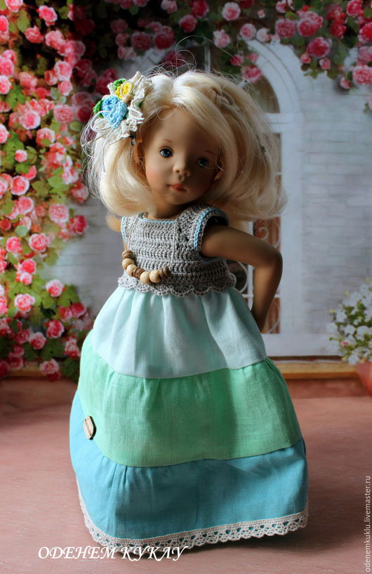 """Одежда для кукол ручной работы. Ярмарка Мастеров - ручная работа. Купить Льняное платье """"Триколор"""". Handmade. Лимонный, на куклу паола"""