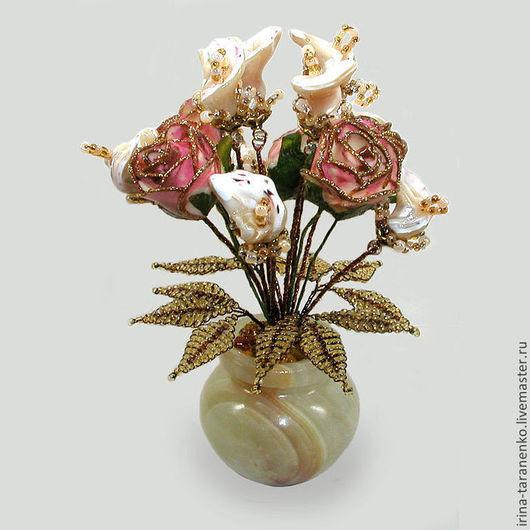 Цветы из перламутра, подарок из перламута