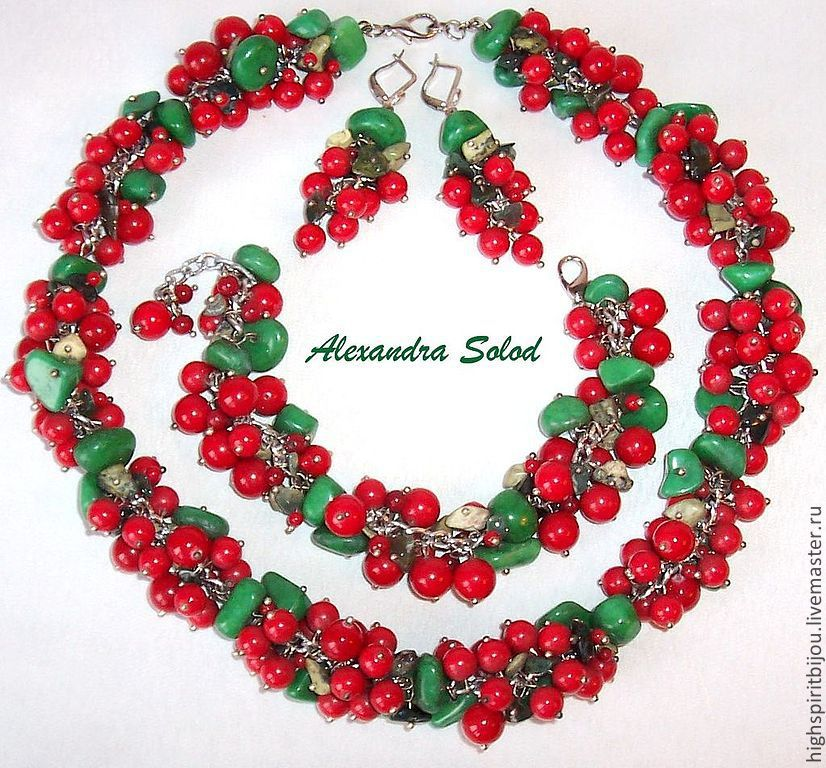 Set 'cranberry meadow': necklace,bracelet,earrings - 9900 RUB, Jewelry Sets, Moscow,  Фото №1