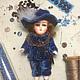 """Винтажные куклы и игрушки. Ярмарка Мастеров - ручная работа. Купить Антикварная кукла в карнавальном костюме """"Принц"""" фарфор. Handmade. Синий"""