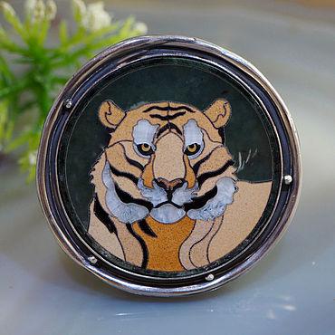 Decorations handmade. Livemaster - original item Florentine mosaic, silver: tiger ring