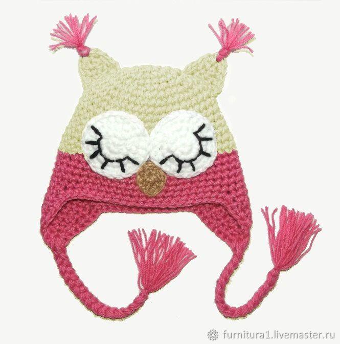 Одежда шапка сова для девочки теплая вязаная зимняя розовая, Одежда, Москва,  Фото №1