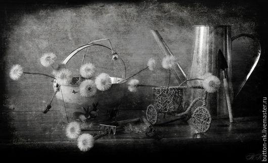 Фотокартины ручной работы. Ярмарка Мастеров - ручная работа. Купить Монохромный натюрморт Одуванчиковая история. Handmade. Черный, серый, белый