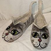 Тапочки ручной работы. Ярмарка Мастеров - ручная работа Валяные тапки-кошки. Handmade.