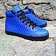 Обувь ручной работы. Ярмарка Мастеров - ручная работа. Купить Кеды из натуральной кожи питона. Handmade. Тёмно-синий