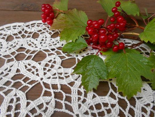 """Текстиль, ковры ручной работы. Ярмарка Мастеров - ручная работа. Купить салфеточка """"Листья"""". Handmade. Молочный цвет, связано крючком"""