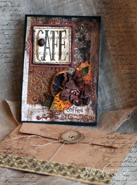 """Открытки на все случаи жизни ручной работы. Ярмарка Мастеров - ручная работа. Купить Открытка""""Вкус кофе""""(Коллекция """"Кофейная книга"""")- №1. Handmade."""