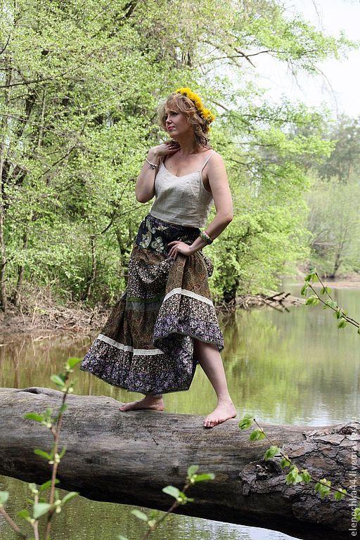 """Юбки ручной работы. Ярмарка Мастеров - ручная работа. Купить Длинная юбка бохо """"Травы луговые"""". Handmade. Зеленый"""