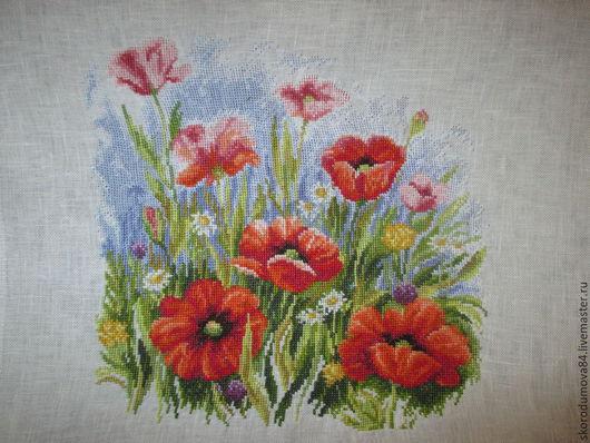 """Картины цветов ручной работы. Ярмарка Мастеров - ручная работа. Купить Вышитая картина """"Маковое поле 2"""". Handmade. Белый"""