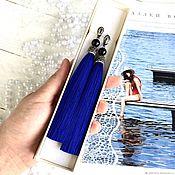 Украшения handmade. Livemaster - original item Earrings-brush Velvet blue night blue Indigo silk cubic Zirconia agate. Handmade.