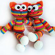 Куклы и игрушки ручной работы. Ярмарка Мастеров - ручная работа Котик радужный. Вязаная игрушка.. Handmade.