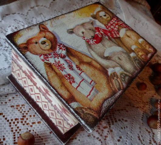 """Корзины, коробы ручной работы. Ярмарка Мастеров - ручная работа. Купить Короб """"Три медведя"""". Handmade. Бордовый, сказка"""