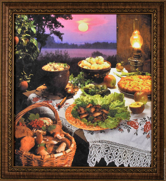 """Натюрморт ручной работы. Ярмарка Мастеров - ручная работа. Купить натюрморт """"Летний вечер"""". Handmade. Тёмно-фиолетовый, стол, картошка"""