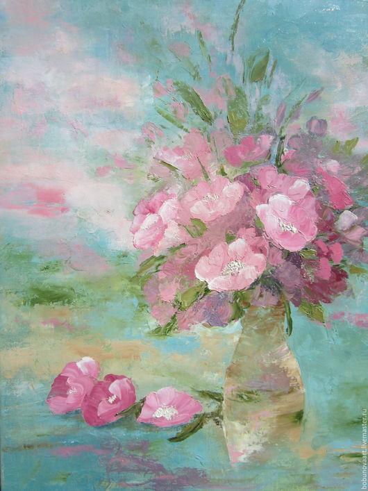 Картины цветов ручной работы. Ярмарка Мастеров - ручная работа. Купить Цветочный блюз. Handmade. Фуксия, картина в подарок
