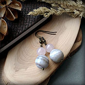 handmade. Livemaster - original item Earrings with natural agate and rose quartz.. Handmade.