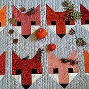 Для дома и интерьера ручной работы. Ярмарка Мастеров - ручная работа Лоскутное одеяло Лисы в осеннем лесу. Handmade.