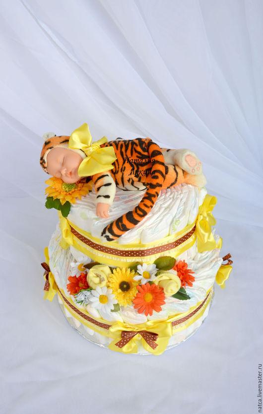"""Подарки для новорожденных, ручной работы. Ярмарка Мастеров - ручная работа. Купить Торт из памперсов  """"Солнечный тигренок"""". Handmade. Желтый, подгузники"""